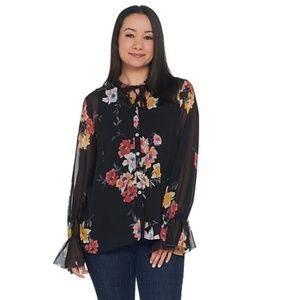 Floral Flounce Blouse Chiffon Button Down Sleeve